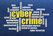 internet concept - cybercrime word cloud on a binary computer screen background