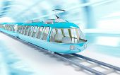 foto of high-speed train  - Blue futuristic speed train in cartoon childish style - JPG