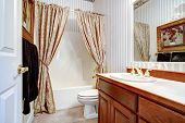 Warm Cozy Bathroom With Curtains