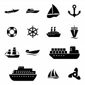 foto of viking ship  - Vector black ship and boat  icons set on white background - JPG