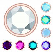 Circle Gemstone Set.  No Gradient, No Transparency