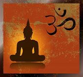 stock photo of sanskrit  - Buddha and om symbol - JPG