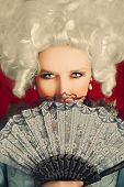 pic of aristocrat  - Baroque style portrait of a young beautiful woman behind a hand fan - JPG
