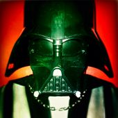 NEW YORK CITY - APRIL 9, 2014: Close up of 31 inch Darth Vader mask photographed with an iPhone App.