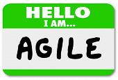 stock photo of clever  - Hello I Am Agile Name Tag Sticker Ability Quick Change - JPG