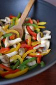 picture of stir fry  - Wok with fried bell peppers and mushrooms - JPG