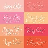 set  of hand drawn typograhy Happy Easter