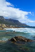stock photo of mountain chain  - Beautiful Camps Bay Beach and Twelve Apostles Mountain Chain Cape Town South Africa - JPG