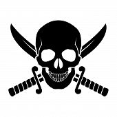 stock photo of crossed swords  - Black skull with crossed sabers behind it - JPG