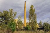 chimney of the factory and what is currently