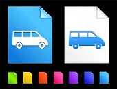Van Icons on Colorful Paper Document Collection