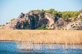 stock photo of dalyan  - Turkey mountains near the river. Dalyan river.