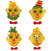 A Creative Set Of Food Concepts. A Few  Funny Portraits From Vegetables And Fruits.