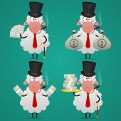Set sheep banker in different poses
