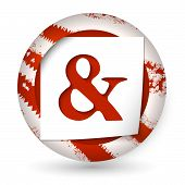 picture of ampersand  - red abstract icon with paper and ampersand - JPG