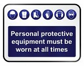image of ppe  - Construction mandatory health and safety sign isolated on white background - JPG