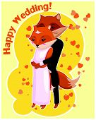 Cartoon postcard for Wedding with cute foxes
