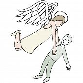 An image of an angel carrying a man's spirit.