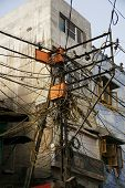 Bunch Of Tangled Electrical Wires In New Delhi