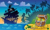 Pirate theme with treasure chest 5 - eps10 vector illustration.