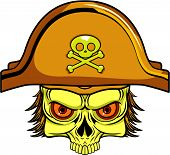 stock photo of pirate hat  - hairy pirate skull with pirate hat in vector - JPG