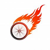 pic of bicycle gear  - Red orange logo burning of a bicycle wheel - JPG