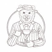 Fashion Illustration Of Bear, Black And White Line