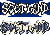 Scotland word graffiti different style. Vector