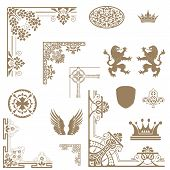 Vector Set Of Decorative Floral Elements