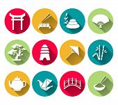 foto of long-fish  - Japanese symbols icons set of sushi bamboo rice tea pot vector illustration - JPG