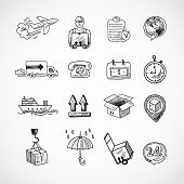 pic of hand truck  - Logistic shipping freight service supply hand drawn doodle icons set isolated vector illustration - JPG