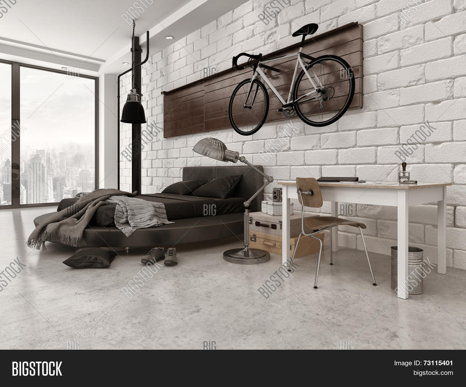 D Rendering Of Modern Loft Style Bedroom In Apartment With - Loft apartment brick