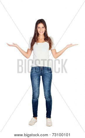 Young casual girl with the arms out extended isolated on a white background
