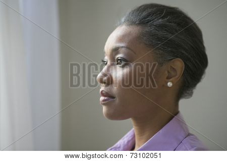 Close up profile of African American woman