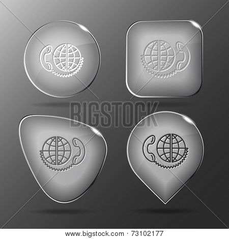 Global communication. Glass buttons. Vector illustration.