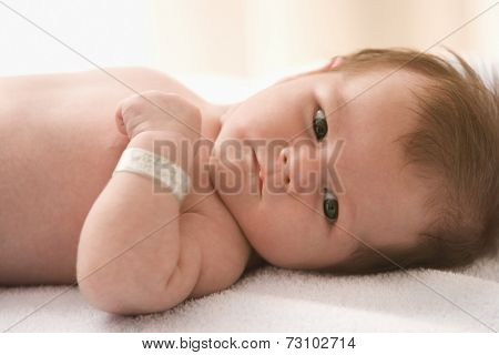 Portrait of baby laying on back