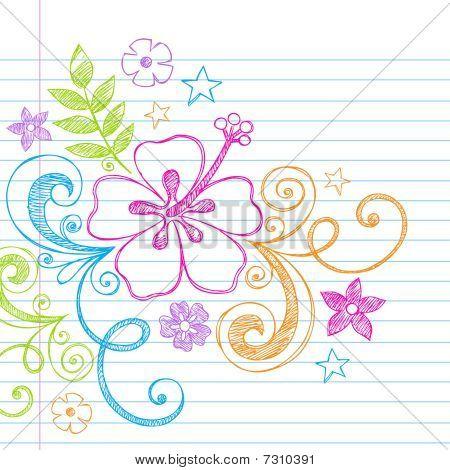 Sketchy Doodle Hawaiian Hibiscus Flower