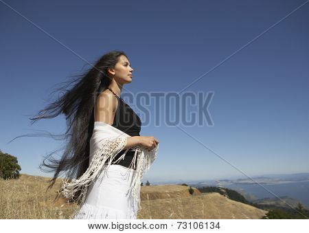 Woman staring off to the distance