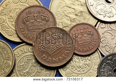 Coins of Denmark. Danish royal crown depicted in Danish ore coins.