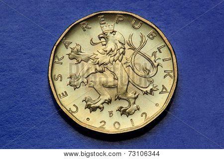Coins of the Czech Republic. Bohemian heraldic lion depicted in the Czech twenty koruna coin.
