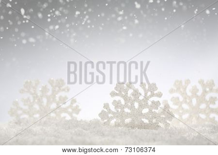 Christmas silver background with snowflakes