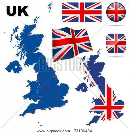 United Kingdom set. Detailed country shape with region borders, flags and icons isolated on white background.
