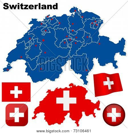 Switzerland set. Detailed country shape with region borders, flags and icons isolated on white background.