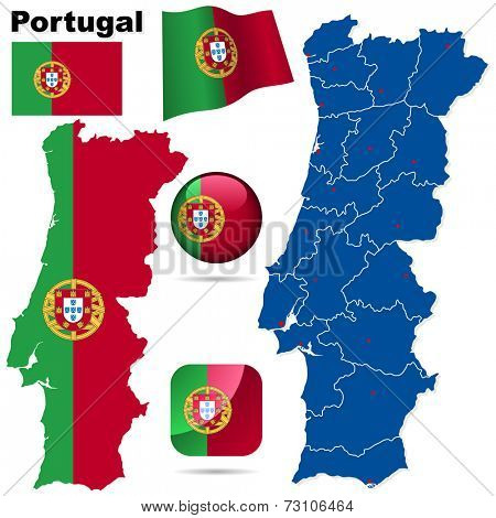 Portugal set. Detailed country shape with region borders, flags and icons isolated on white background.