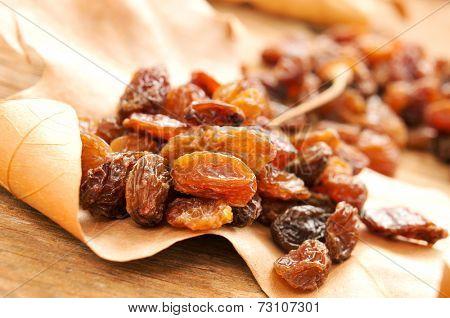closeup of a pile of sultana raisins on an autumn leaf