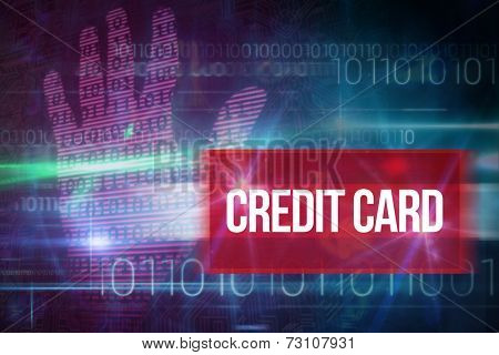 The word credit card and pink technology hand print binary design against blue technology design with binary code