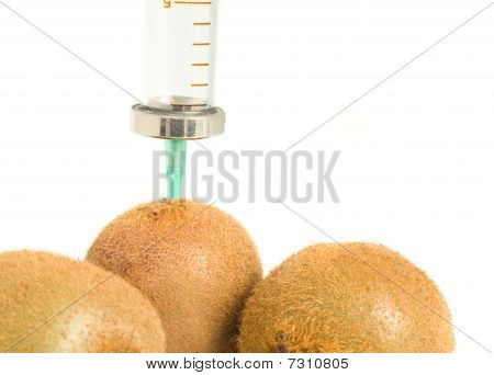 Gmo - Kiwi With Aged Syringe On White