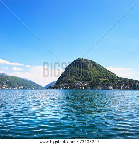 Lugano Lake And Mountains Landscape. Ticino, Swiss, Europe.