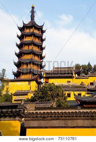 Buddhist chinese temples and Pagoda, Zhenjiang China.