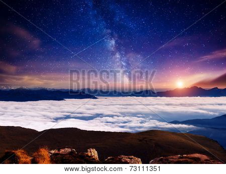 View Val Gardena valley under starry light. National Park Odle Geisler. Dolomites, South Tyrol. Location Ortisei, S. Cristina. Italy, Europe. Dramatic scene. Astrophotography. Beauty world.
